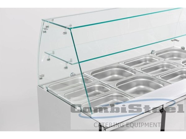 Combisteel Saladette 3 Deurs   Glasopstand   4x 1/1GN   1365x700x850(h)mm