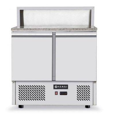Hendi Pizza Saladette - 2 Doors - Granite countertop - 900x700x (h) 1100mm