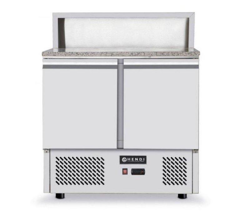 Hendi Pizza Saladette - 2 Deurs - Granieten Werkblad - 900x700x(h)1100mm