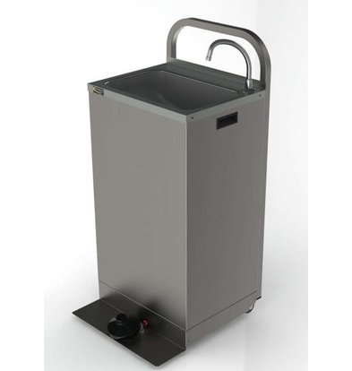 XXLselect Mobile Sink Stainless Steel | with Foot control | Including two 13-liter jerry cans