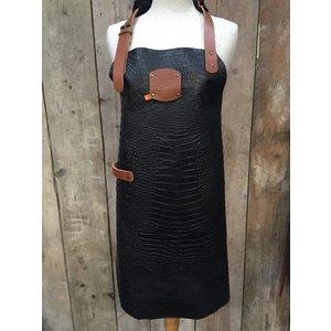 XXLselect Leather Apron Cayman   nero   Large 74 (L) x60 (W) cm   Adjustable   printing possible