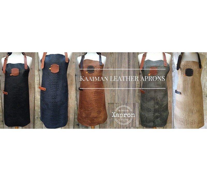 XXLselect Leather Apron Cayman | nero | Large 74 (L) x60 (W) cm | Adjustable | printing possible