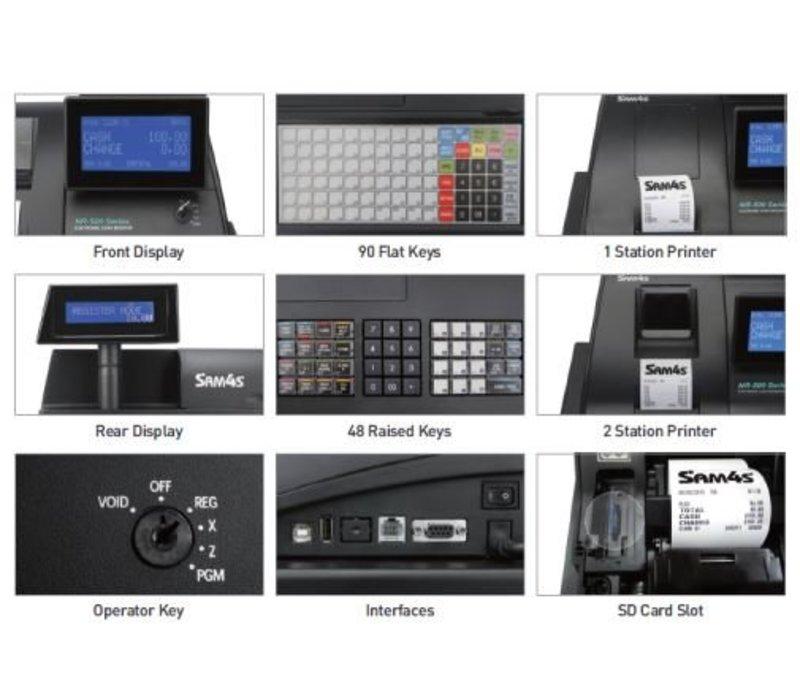 Sam4s Traditionelle POS-System | SAM4S NR-500B | Single Station Drucker | LCD-Display | flache Tastatur