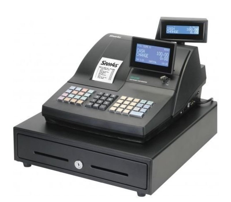 Sam4s Traditionelle POS-System | SAM4S NR-500RB | Single Station Drucker | LCD-Display | erhöht Tastatur