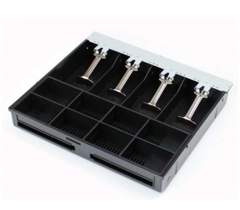 XXLselect Cash Drawer Front Touch Black | RED-410 Royal | 8 Coin / 4 Ticket (SS) | 2 Afroomgleuven | 410x415x110 (h) mm