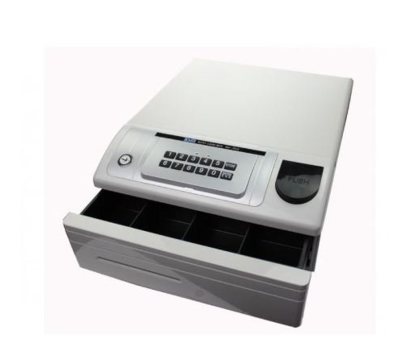 XXLselect Cash drawer with PIN | ND-350 White | 4 Coin / 4 Ticket | 354 (b) x418 (d) x165 (H) mm
