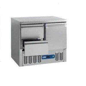 Diamond Koelwerkbank RVS | 1 Deur en 2 Laden | 90x70x(h)87/89cm | DELUXE