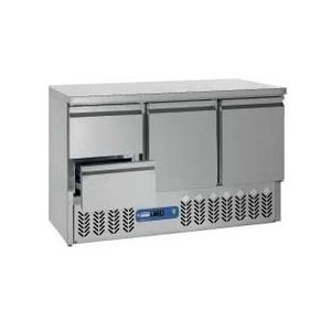 Diamond Koelwerkbank RVS | 2 Deuren en 2 Laden | 136x70x(h)85/89cm | DELUXE