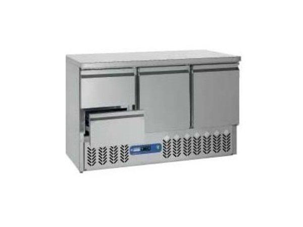 Diamond Kühle Workbench SS | 2 Türen und 2 Loading | 136x70x (h) 85 / 89cm | DELUXE