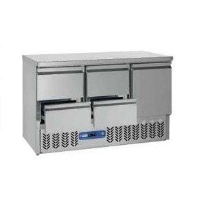 Diamond Kühle Workbench SS | 1 Tür und 4 Loading | 136x70x (h) 85 / 89cm | DELUXE