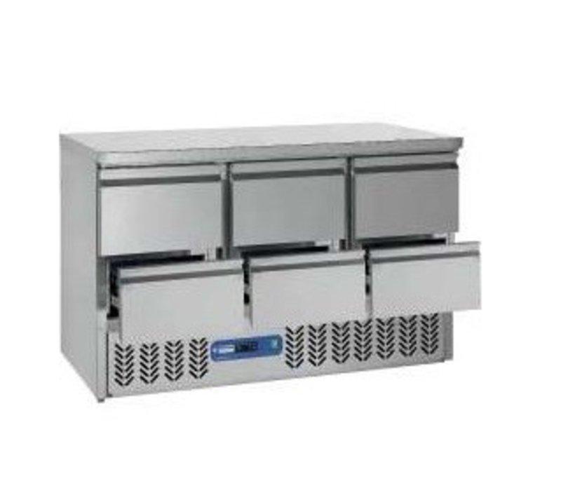 Diamond Koelwerkbank RVS | 6 Laden | 136x70x(h)85/89cm | DELUXE