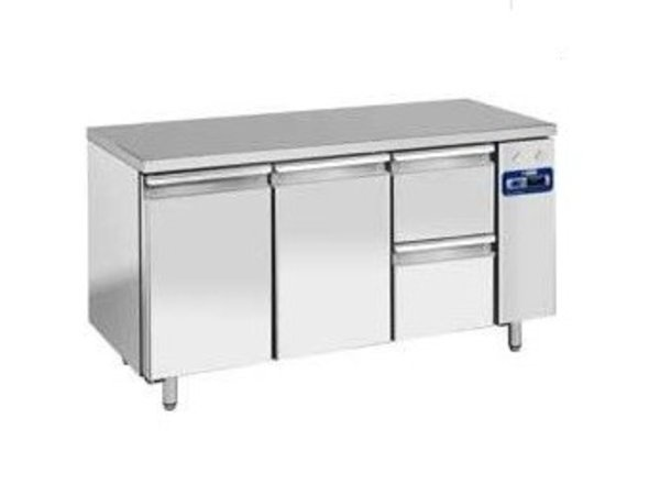 Diamond Cool Workbench SS   2 Doors and 2 Loading   159x70x (h) 88 / 90cm   DELUXE