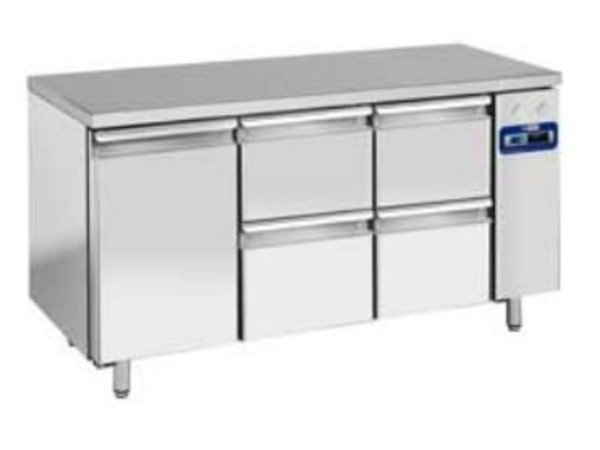 Diamond Cool Workbench SS   1 Door and 4 Loading   159x70x (h) 88 / 90cm   DELUXE