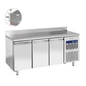 Diamond Cool Workbench SS | 3 Doors with Splash Edge | 203x80x (h) 88 / 90cm | Robust