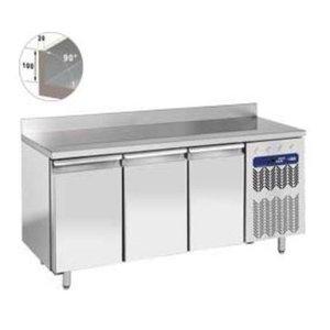 Diamond Cool Workbench SS | 3 Doors with Splash Edge | 203x80x (h) 88 / 90cm | Robust