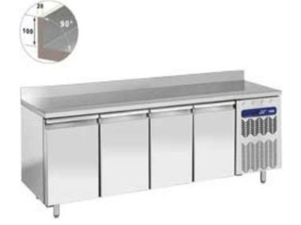 Diamond Koelwerkbank RVS | 4 Deurs met Spatrand | 225x80x(h)88/90cm | Robuust