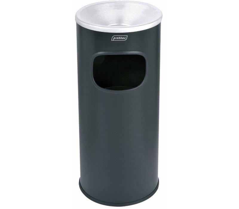 XXLselect Waste collector with ashtray Black | Inner bin 30 Liter | Flame retardant | 250x250x650mm