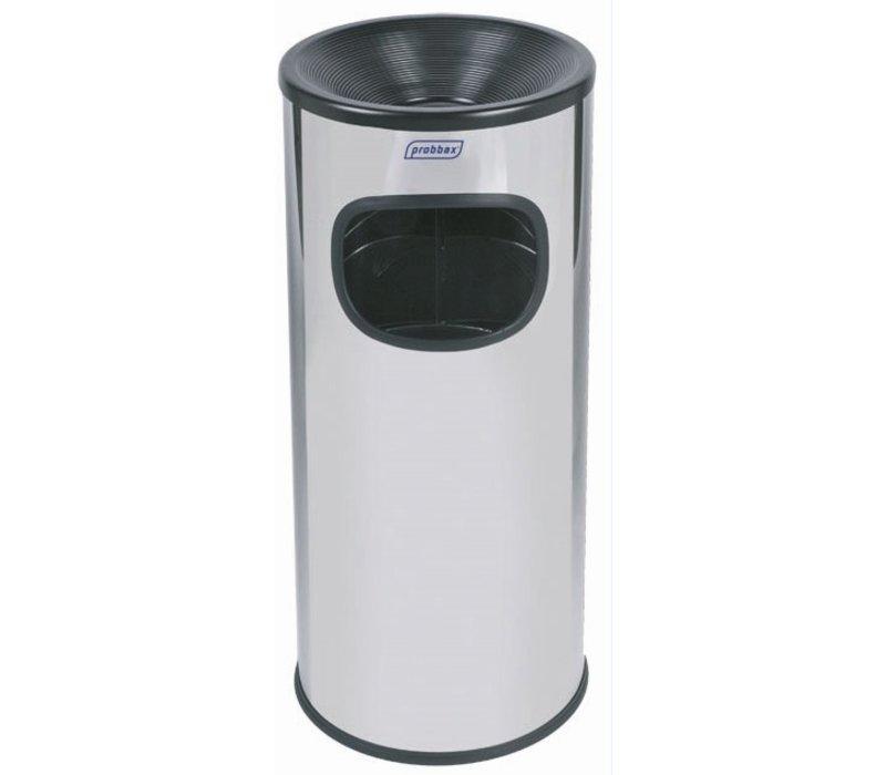 XXLselect Afvalbak met Asbak | Gepoetst RVS | Binnenemmer 30 Liter | 250x250x(H)650 mm