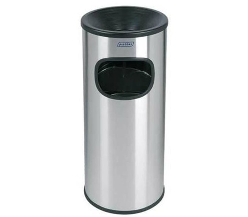 XXLselect Abfallsammler mit Ascher | Edelstahl | Inneneimer 30 Liter | 250x250x (H) 650mm