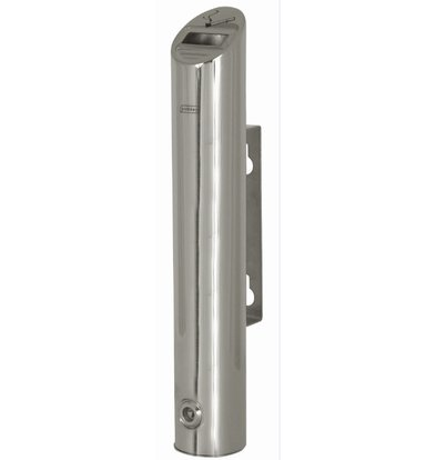 XXLselect Tubular Wall ashtray | Shiny stainless steel | 1.8 Liter | To 540 butts | 75x75x (H) 460mm