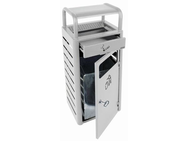 XXLselect Standing Ashtray | with Bin | Grey | 2.3 Litre + 20 Litre Bin | 690 butts