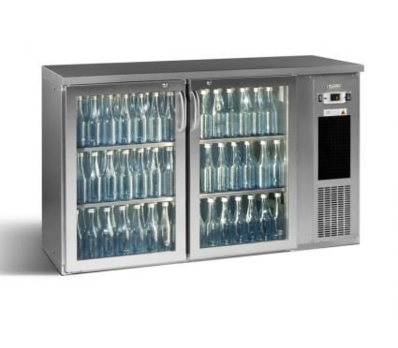 Gamko Bottle Chill 2-Door | chrome | Gamko E3 / 22GMUCS | 344 33cl bottles. | 364L | ECO-Line | 1434x492x (h) 840 / 860-880mm