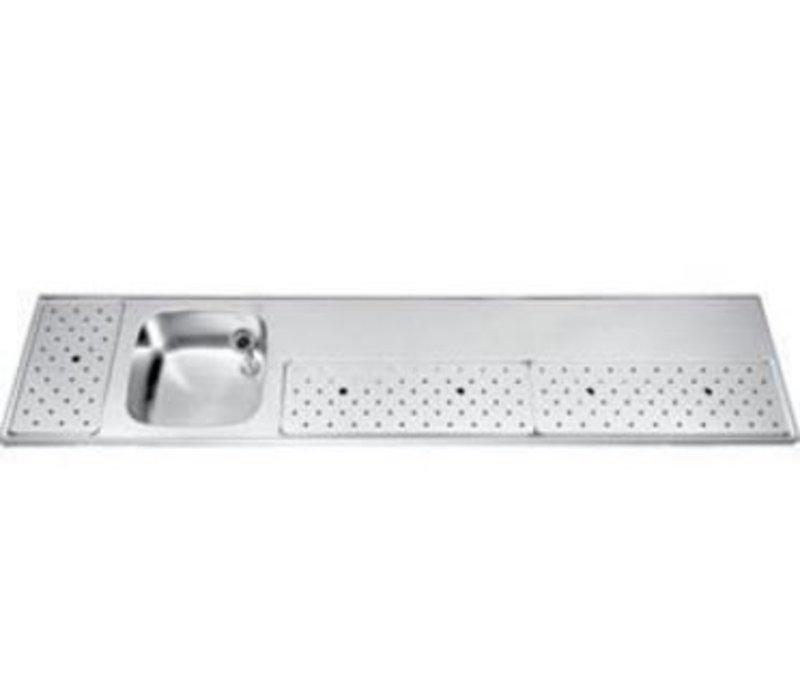 Gamko Barblad RVS + Spoelbak Links | Gamko ST-BB230L | Rond Motief | 500x2300mm | STAR-Line