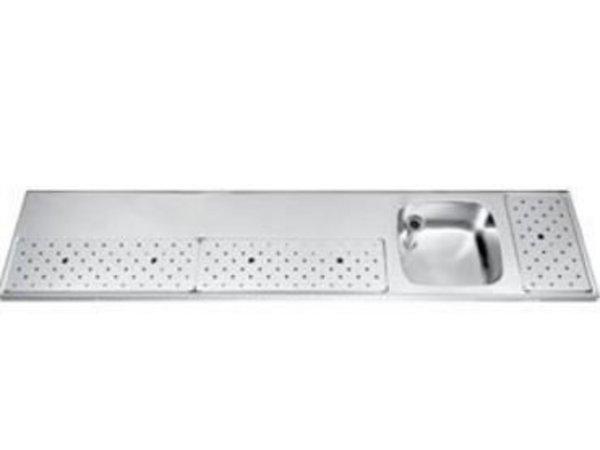 Gamko Edelstahl-bar top + Sink Rechts | Gamko ST BB230R | Rund Motiv | 500x2300mm | STAR-Line