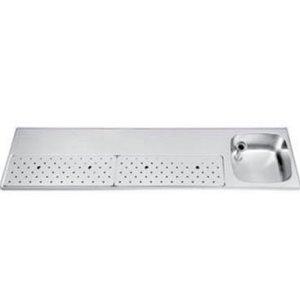 Gamko Edelstahl-bar top + Sink Rechts   Gamko ST BB200R   Rund Motiv   500x2000mm   STAR-Line