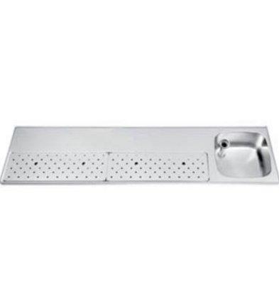 Gamko Edelstahl-bar top + Sink Rechts | Gamko ST BB200R | Rund Motiv | 500x2000mm | STAR-Line
