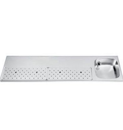 Gamko Stainless steel bar top + Sink Right | Gamko ST BB200R | Around Motif | 500x2000mm | STAR-Line