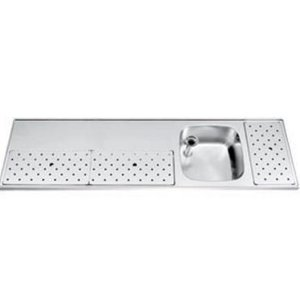 Gamko Edelstahl-bar top + Sink Rechts | Gamko ST BB180R | Rund Motiv | 500x1800mm | STAR-Line