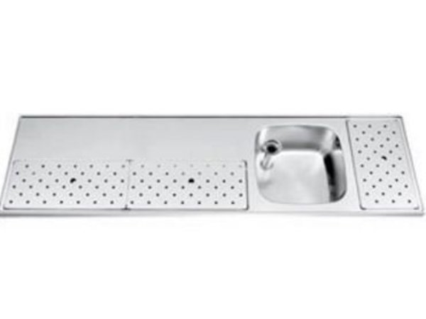 Gamko Stainless steel bar top + Sink Right | Gamko ST BB180R | Around Motif | 500x1800mm | STAR-Line