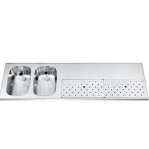 Gamko Edelstahl-bar top + 2 Waschbecken Links | Gamko ST BB1802L | Rund Motiv | 500x1800mm | STAR-Line