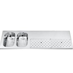 Gamko Stainless steel bar top + 2 sinks Links | Gamko ST BB1802L | Around Motif | 500x1800mm | STAR-Line