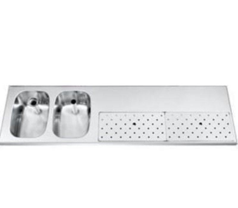 Gamko Stainless steel bar top + 2 sinks Links | Gamko ST BB1802L | Around Motif | 500x1800mm | STAR-Line