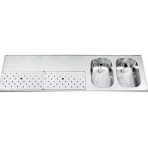 Gamko Edelstahl-bar top + 2 Waschbecken rechts | Gamko ST BB1802R | Rund Motiv | 500x1800mm | STAR-Line