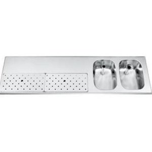 Gamko Stainless steel bar top + 2 sinks Right | Gamko ST BB1802R | Around Motif | 500x1800mm | STAR-Line