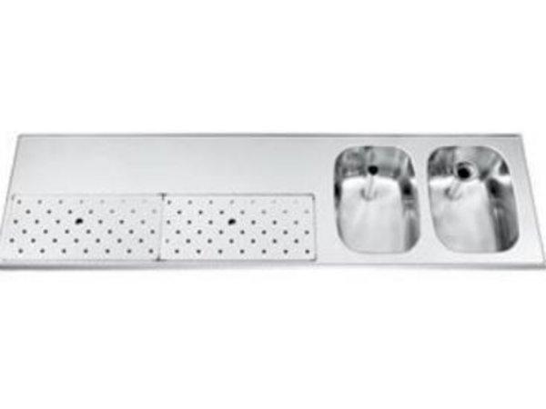 Gamko Stainless steel bar top + 2 sinks Right | Gamko ST BB1802R | Around Motif | 500x1800mm | STAR-Line
