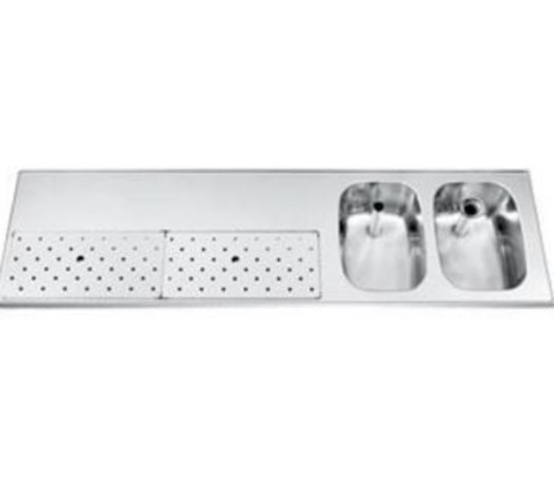 Gamko Edelstahl-bar top + 2 Waschbecken rechts   Gamko ST BB1802R   Rund Motiv   500x1800mm   STAR-Line