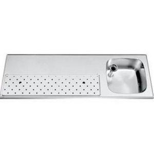 Gamko Edelstahl-bar top + Sink Rechts | Gamko ST BB150R | Rund Motiv | 500x1500mm | STAR-Line