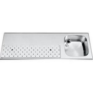 Gamko Stainless steel bar top + Sink Right | Gamko ST BB150R | Around Motif | 500x1500mm | STAR-Line