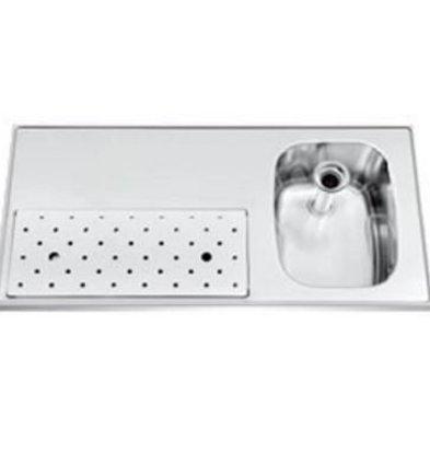 Gamko Edelstahl-bar top + Sink Rechts | Gamko ST BB100R | Rund Motiv | 500x1000mm | STAR-Line
