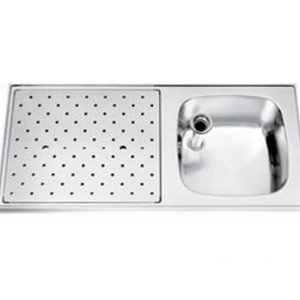 Gamko Edelstahl-bar top + Sink Rechts | Gamko ST SL110R | Rund Motiv | 500x1100mm | STAR-Line
