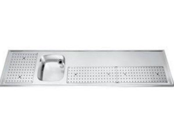 Gamko Buffetblad RVS + Spoelbak Links | Gamko PR-BB250LUM | Rond Motief | 550x2500mm | PROFI-Line