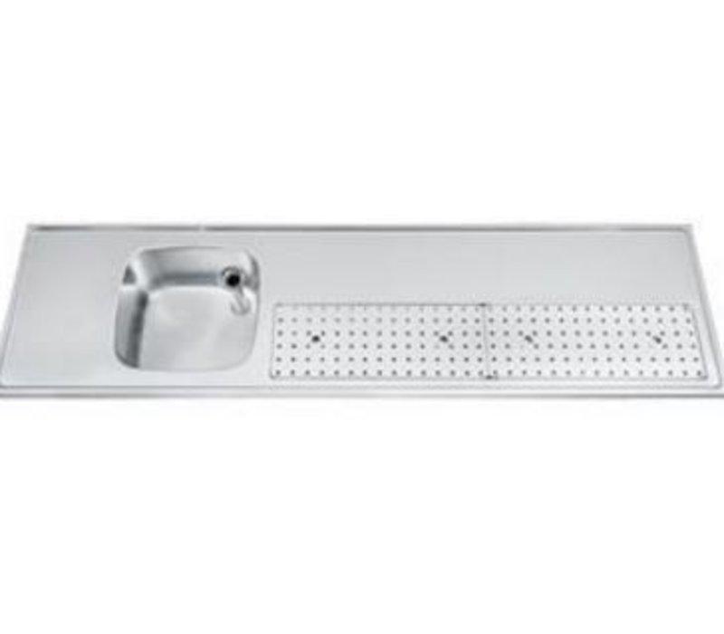 Gamko Buffetblad RVS + Spoelbak Links | Gamko PR-BB200LUM | Rond Motief | 550x2000mm | PROFI-Line