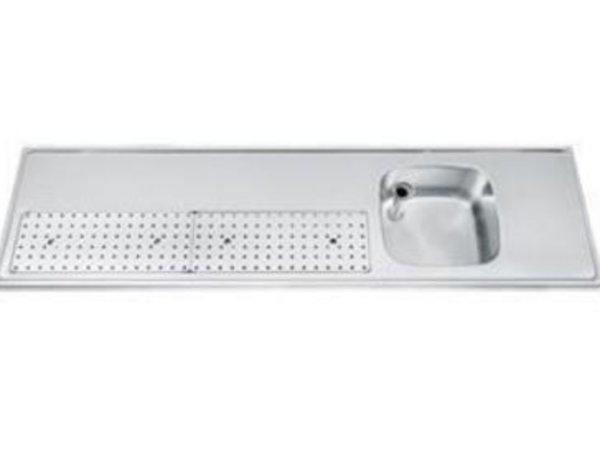 Gamko Buffetblad RVS + Spoelbak Rechts | Gamko PR-BB200RUM | Rond Motief | 550x2000mm | PROFI-Line