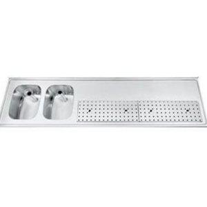 Gamko Buffetblad RVS + 2 Spoelbakken Links | Gamko PR-BB2002L | Rond Motief | 550x2000mm | PROFI-Line