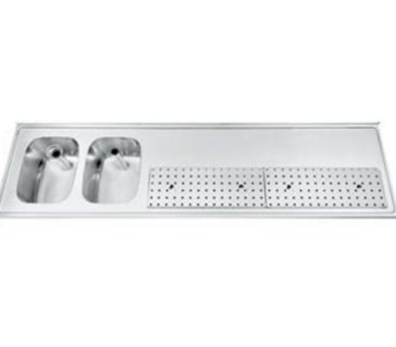 Gamko Buffet Journal RVS + 2 sinks Links | Gamko PR BB2002L | Around Motif | 550x2000mm | PROFI-Line
