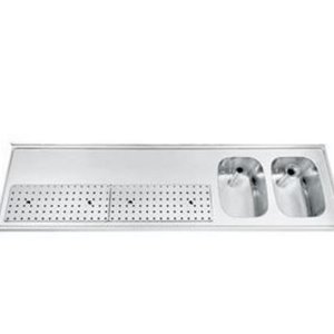 Gamko Buffet Journal RVS + 2 Waschbecken rechts | Gamko PR BB2002R | Rund Motiv | 550x2000mm | PROFI-Line